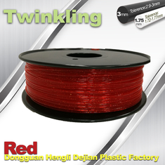China Flexible 3D Printer Filament Twinkling 3mm 1.75mm Red Filament 1.3Kg / Roll supplier