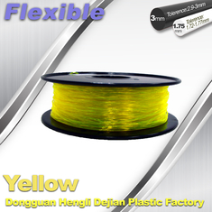 China High Elasticity Yellow Flexible 3D Printer Filament 1.75 / 3.0 mm supplier