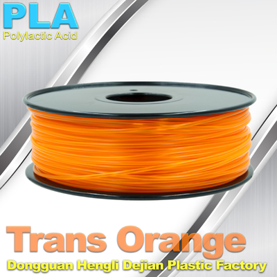 China 1.75mm /  3.0mm Trans Orange PLA 3D Printer Filament Colors 1KG / Roll supplier