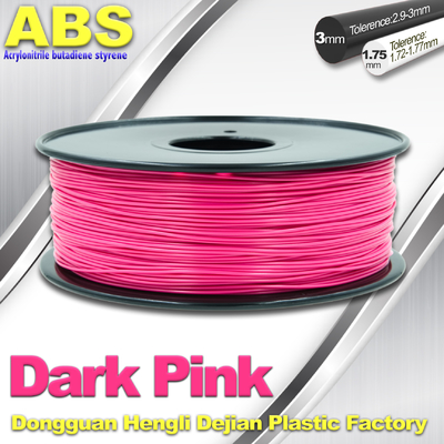 China Colored ABS 3d Printer Filament 1.75mm /  3.0mm , Dark Pink  ABS Filament supplier