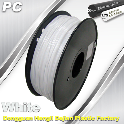 China 1.75 / 3.0 mm  PC Filament  White for RepRap , Cubify 3D Printer Filament supplier