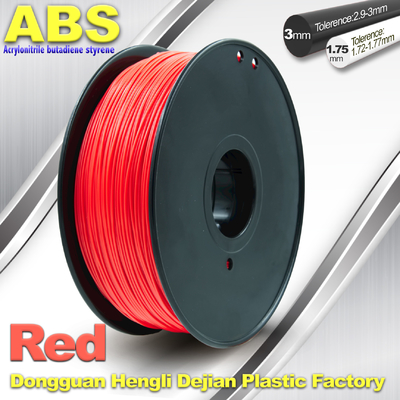 1.75mm /  3.0mm ABS 3d Printer Filament Red With Good Elasticity
